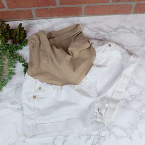 LED White Maternity Shorts M